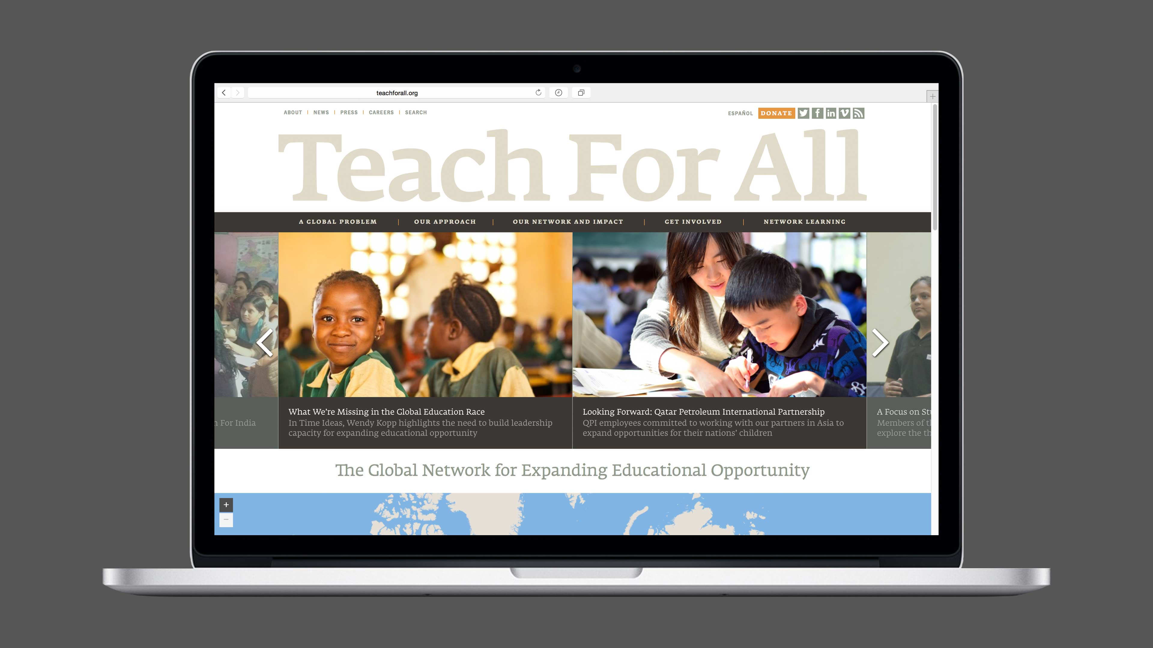 Teach For All website redesign